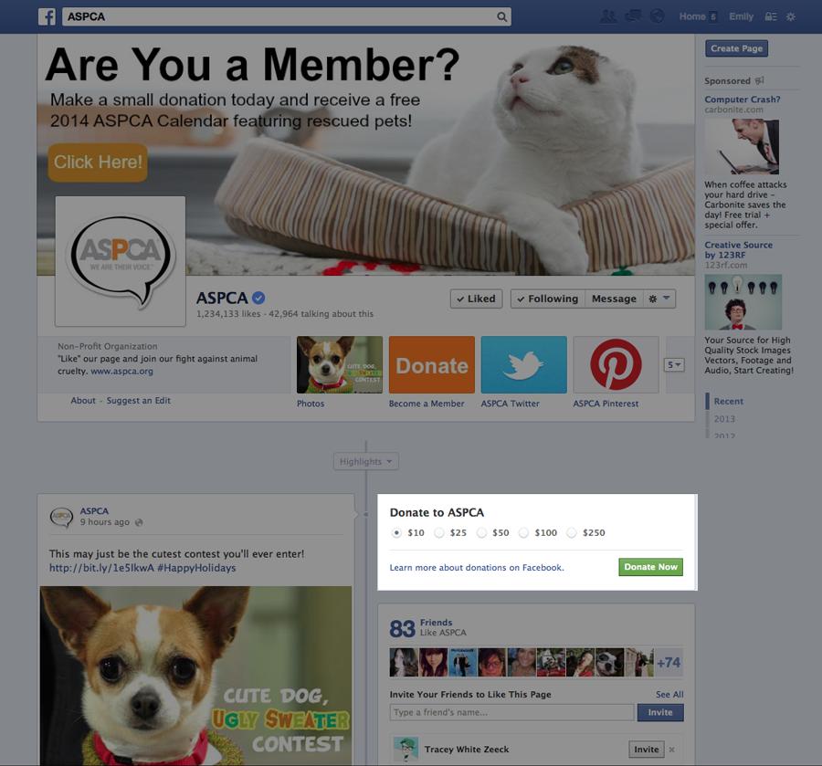 ASPCA Facebook page